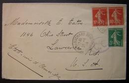 1916 Camp Du Ruchard Oblitération Sur Lettre Pour Les USA (Etats Unis), Cachet Mauve C.C, De Schoenfeld, Armée Belge - Postmark Collection (Covers)