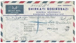 Ref 1284 - Registered Airmail Advertising Cover - Afghanistan To Lincoln UK - Afghanistan
