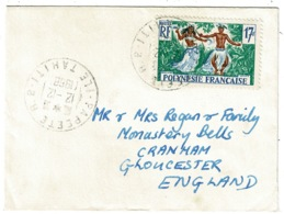 Ref 1284 - 1968 Cover - French Polynesia - Tahiti 17f Rate To Gloucester - Pacific Island - French Polynesia