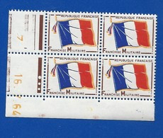 Coin Datés Bloc De 4 Timbres   Franchise Militaire  16/7/1964 - Hoekdatums