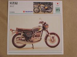 SUZUKI 380 GT Japon Japan 1972  Moto Fiche Descriptive Motocyclette Motos Motorcycle Motocyclette - Fiches Illustrées