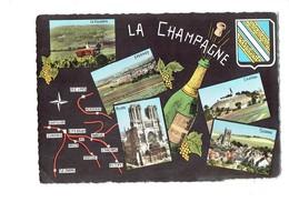 Cpm - LA CHAMPAGNE - Multivues Bouteille SEZANNE CHATILLON EPERNAY REIMS Travaux échafaudage Tracteur Vignoble Raisin - Vignes