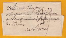 Précurseur 18e Siècle - Marque Postale RHEIMS, Reims, Marne Sur Enveloppe Pliée Vers Nismes, Nîmes, Gard - 1701-1800: Precursors XVIII