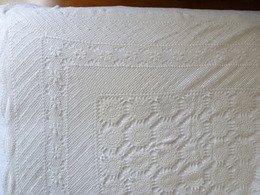 JETE DE LIT COUVRE LIT AMERICAIN CROCHET BLANC Début XXe USA ETATS-UNIS - Bed Sheets