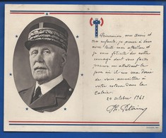 Carte Maréchal Pétain  Lettre  Aux Prisonniers Du 24 Octobre 1941 - Documents