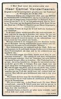 Camiel VANDERHEEREN - Commeene  - Oekene - Rollegem-Kapelle - Gesneuveld Voor België 1940 - Wevelgem  - Onderwijzer - Obituary Notices