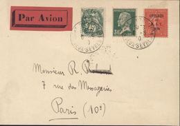 Par Avion YT 111 + 174 + 264 Semeuse Lignée 50ct Congrès Du BIT  B.I.T 1930 Dos CAD Paris Gare Du Nord Avion 17 * 6 5 30 - Storia Postale