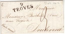 AUBE-  9 Troyes - Lettre à Doulevant - PD 33X11 N- Tm3 - Sans Date - Marcofilia (sobres)