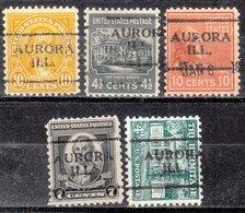 USA Precancel Vorausentwertung Preo, Locals Illinois, Aurora 701, 5 Diff. Perf. 11x10 1/2 - Vereinigte Staaten