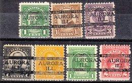 USA Precancel Vorausentwertung Preo, Locals Illinois, Aurora 635-L-2 TS, 7 Diff. Perf. 11x10 1/2 - Vereinigte Staaten