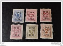 Belgique 1962- 1963  Lot De 6 Timbres * Chiffre Sur Lion Héraldique - Tipo 1951-80 (Cifra Su Leone)