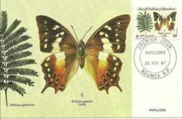 Carte Maximim Nouvelle Calédonie 1987 Papillons. - Schmetterlinge