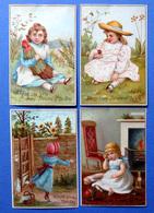 4 CHROMOS LITHOGRAPHIES  ..HAPPY BIRTHDAY.. ..ENFANTS....POUPÉE...PAPILLON...JOUETS - Vieux Papiers