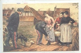 """Rémy Cogghe """"La Visite Des Pacotilleuses"""" Douaniers Curieux Chien (frontière Franco-Belge) PELERINE Cp Double - Douane"""