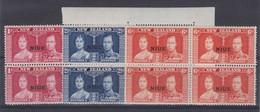 NOUVELLE ZELANDE   NIUE  1937:  La Série Complète Y&T 59-61 En Blocs De 4 Neufs ** - 1907-1947 Dominion