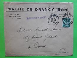 """Guerre, Lettre MAIRIE DE DRANCY, Seine, """" Assistance """", Type IRIS Vert  No 432 > Dornes Nièvre,  12.12. 1939, TB - Marcophilie (Lettres)"""