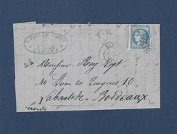 20c Ceres Sur Enveloppe Cachet N° 283  Cachet A Date De DAX - 1870 Bordeaux Printing