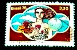 Brasil,1975,International Women Day. 23th. September. ( Lady With Flowers ), Michel # 1504 - Mother's Day