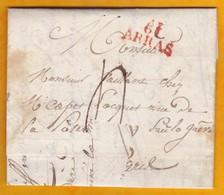 1823 - Marque Postale  61 ARRAS, Pas De Calais Sur Lettre Pliée Avec Correspondance Fraternelle De 2 P Vers Paris - 1801-1848: Vorläufer XIX