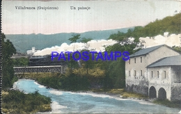 109517 SPAIN ESPAÑA VILLAFRANCA GUIPUZCOA PAIS VASCO VISTA PARCIAL & TREN TRAIN  POSTAL POSTCARD - España