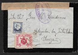 ESPAGNE SPAIN 1937. 50c Ed. 688 Y 5 Cts Viñeta SRI, SOLIDARIDAD CON LAS VICTIMAS DEL FASCISMO. VALENCIA A GSTEIGWEILER - 1931-Today: 2nd Rep - ... Juan Carlos I