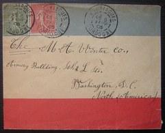Bouniagues Dordogne 1906 Lettre Tricolore (bleu Blanc Rouge) Pour Washington D.C Etats Unis (USA), Cachets Au Revers - Marcophilie (Lettres)