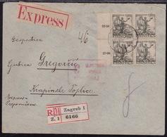 Croatia SHS, Seamen, Express - Registered Cover From Zagreb To Krapinske Toplice, Creased - Storia Postale