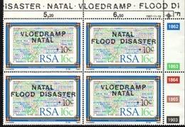 South Africa - 1987 Natal Flood Relief Fund (2nd Issue) Control Block (**) # SG 629a , Mi 719-720 - Blocchi & Foglietti