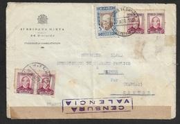 ESPAGNE SPAIN 1938 - Carta 47 BRIGADA MIXTA - CORREO DE CAMPAÑA ESTAFETA 65 - 4 X 25c Ed. 685, A FRANCIA - 1931-Today: 2nd Rep - ... Juan Carlos I