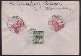 Croatia SHS, Cover Franked 25 Fin, Overprinted Issue And Seamen, From Vinkovci To Vienna - Storia Postale