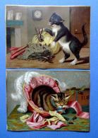 2 CHROMOS LITHOGRAPHIES  ....HUMOUR...........CHATS EFFRAYES PAR DES HOMARDS OU DES INSECTES - Vieux Papiers