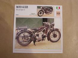 MOTO GUZZI 500 Cm3 Sport 14  Italie 1929  Moto Fiche Descriptive Motocyclette Motos Motorcycle Motocyclette - Sammelkarten, Lernkarten