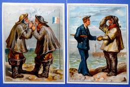 2 CHROMOS LITHOGRAPHIES  ....FORMAT CARTE POSTALE......MARINS ...MATELOT......MER.....ILLUSTRATEUR E. GRISET - Vieux Papiers