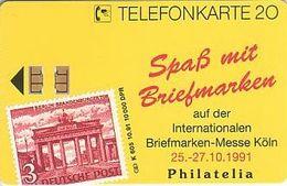 """GERMANY K605/91 Philatelia 91 - Köln -  Dom - Lufthansa - Stamp """"Brandenburger Tor"""" - Deutschland"""