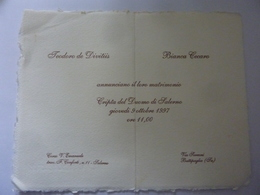 Partecipazione Nozze Su Carta Di Amalfi - Salerno 1997 - Annunci Di Nozze