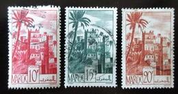 1947-48 MAROC Yt 260A, 262, 264. Ouarzazat Kasbah . Palmiers   Paysages   Paysages Urbains / Vue De Villes - Used Stamps