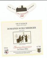 Belle Etiquette De Vin D'Alsace  Guewurztraminer Domaines Schlumberger Guebwiller 1969 - White Wines