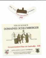 Belle Etiquette De Vin D'Alsace  Guewurztraminer Domaines Schlumberger -Fleur De  Guebwiller 1969 - Blancs