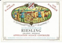 Belle Etiquette De Vin D'Alsace Riesling Domaines Schlumberger  Guebwiller - Blancs