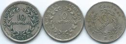 Costa Rica - 1951 - 10 Centimos - KM185.1; 1969 - KM185.2 & 1972 - KM185.3 - Costa Rica