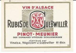 Belle Etiquette De Vin D'Alsace Rubis Domaines Schlumberger  Guebwiller - Blancs