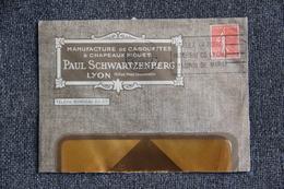 Timbre Sur Lettre Publicitaire - LYON, Paul SCHWARTZENBERG, Manufacture De Casquettes Et Chapeaux Piqués. - Textile & Clothing