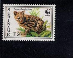 740909621 POSTFRIS  MINT NEVER HINGED EINWANDFREI SCOTT 1012 WWF ANIMALS CAT - Surinam