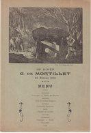MENU : 38e Diner . G DE MORTILLET( Archéologue )  . 23 Février 1910 . - Menus