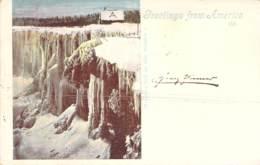 Greeetings From Amerika Niagara-fall In The Winter 1899 AKS - Gruss Aus.../ Grüsse Aus...