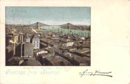 Greeetings From Amerika East River Brücke New York 1899 AKS - Gruss Aus.../ Grüsse Aus...