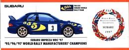 Planche De 4 Autocollants Subaru 555 - Compétition - Rallye - Champion Du Monde 1995/96/97 - Autocollants