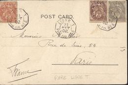 Maritime CAD Octogonal Ligne T Paq Fr N°3  25 Août 1902 YT 107 108 109 Blanc CPA Femmes Au Harem Fix Et David - Poste Maritime