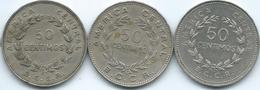 Costa Rica - 50 Centimos - 1965 (KM189.1) 1972 (KM189.2) & 1978 (KM189.3) - Costa Rica