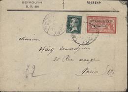 Grand Liban YT 24 Pasteur 10c Vert + 31 Merson 2PI Sur 40 Rouge Et Bleu CAD Bilingue Beyrouth 5 7 Je Pense 24 - Grand Liban (1924-1945)